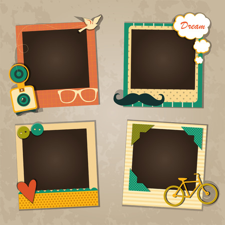 vintage photo frame: Decorative template frame design for baby photo and memories, scrapbook concept, vector illustration