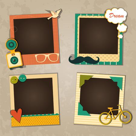 Design de moldura decorativa modelo para foto de bebê e memórias, conceito de scrapbook, ilustração vetorial