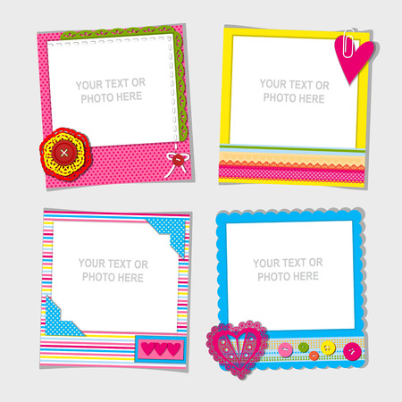 collage: Decorative template frame design for baby photo and memories, scrapbook concept, vector illustration
