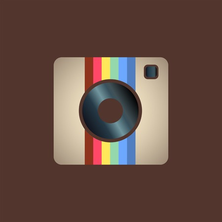 camera phone: Hipster photo or camera icon on a white background