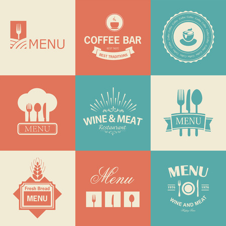 grilled: Vintage set of restaurant signs, symbols, logo elements and icons. Calligraphy decorations collection for restaurant menu.