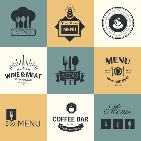 food backgrounds: Vintage set of restaurant signs, symbols, logo elements and icons. Calligraphy decorations collection for restaurant menu.