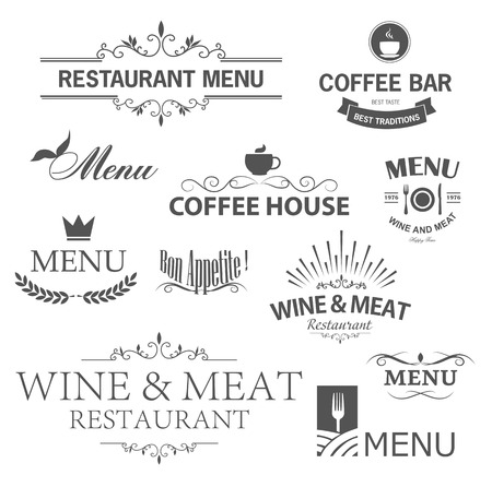 menu vintage: Vintage set of restaurant signs, symbols, elements and icons. Calligraphy decorations collection for restaurant menu.