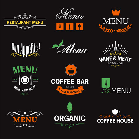 Vintage set of restaurant signs, symbols, icon elements and icons. Calligraphy decorations collection for restaurant menu. Vector
