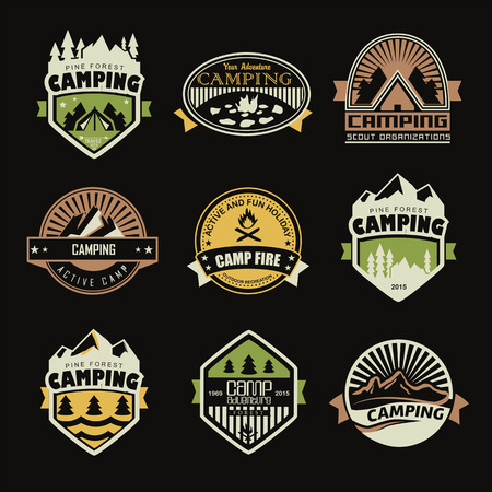 summer season: Set of retro badges and label icon graphics. Camping badges and travel icon emblems