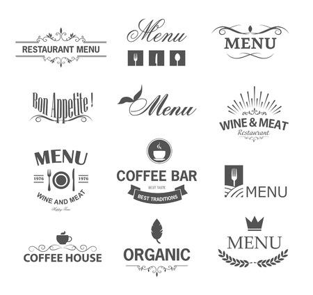 レストランの標識、記号、ロゴの要素およびアイコンのヴィンテージのセットです。レストランのメニューのための書道の装飾のコレクション。