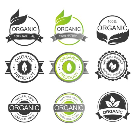 quality stamp: Set of Fresh Organic Labels and Elements Illustration