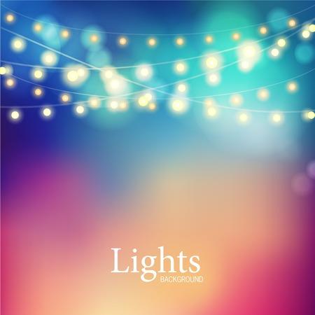 glowing lights: Beautiful Christmas abstract background. Bokeh garland glowing lights. Illustration
