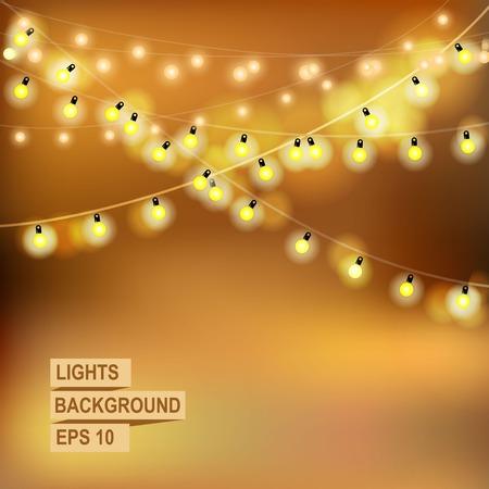 blink: Beautiful Christmas abstract background. Bokeh garland glowing lights. Illustration