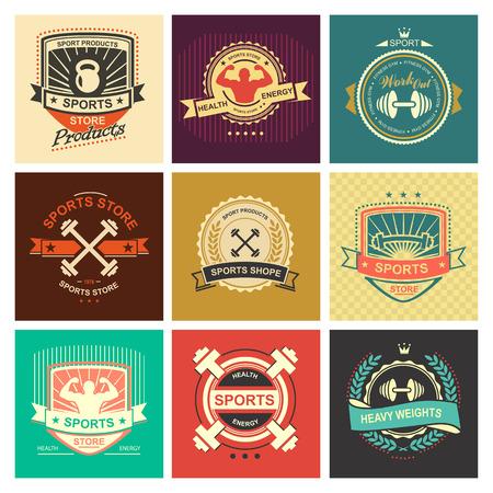 gym equipment: Insieme di vari sport e fitness logo emblema grafica e le icone. Prodotti negozio di sport