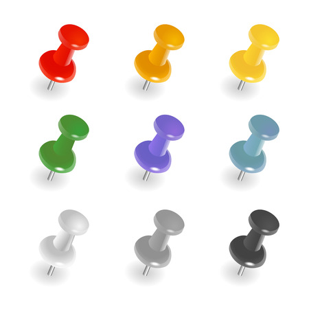 Set of push pins in different colors. Thumbtacks. Top view. Vector illustration. Isolated on white background