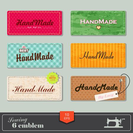 maquinas de coser: ilustración de coser de estilo vintage y etiqueta sastre. Etiquetas de tela con costuras