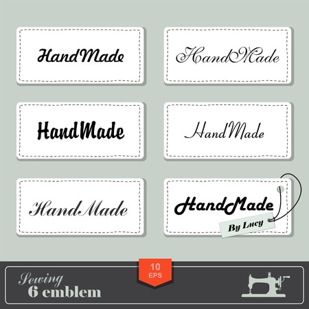 illustration of vintage style sewing and tailor label. Labels fabric with stitching Illustration