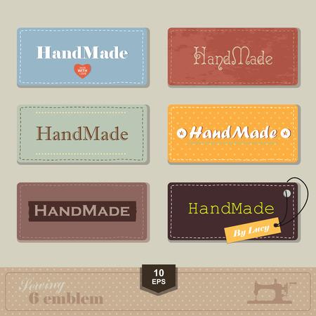 illustratie van vintage stijl naaien en op maat label. Labels stof met stiksels