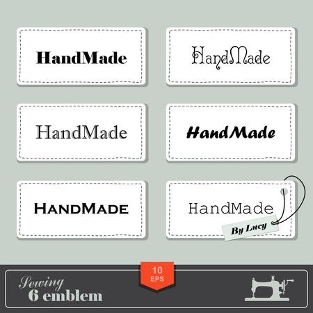 maquinas de coser: ilustraci�n de coser de estilo vintage y etiqueta sastre. Etiquetas de tela con costuras