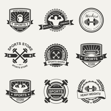 Set of various sports and fitness logo emblem graphics and icons. Shop sport products Vector