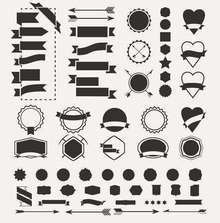 レトロなロゴを作成するためのデザイン要素のコレクション、ビンテージ ベクトル バッジ図形の巨大なセット