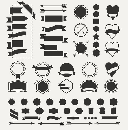 Huge set of vintage vector badge shapes, collection of design elements for creating retro logos