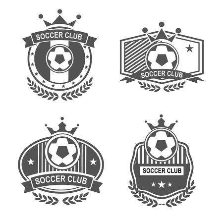 pelotas de futbol: Conjunto de vectores emblemas deportivos. Logo insignias y etiquetas de los iconos de F�tbol Vectores
