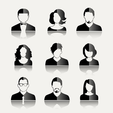people icon: User Icons and People Icons in flat modern style. Vector illustration