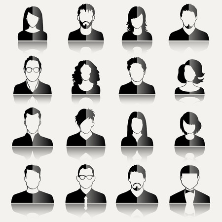 faces: User Icons and People Icons in flat modern style. Vector illustration