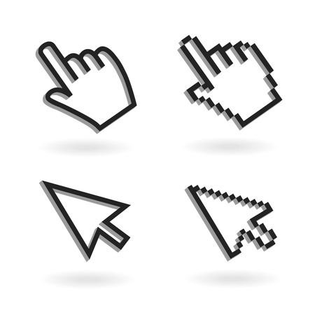 3d icons: Hand mouse icon pointer. Finger click icon