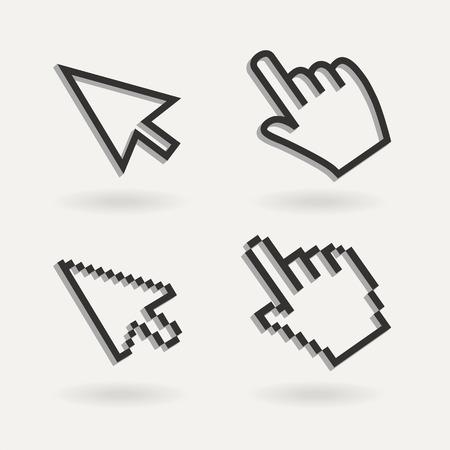 klik: Hand muis pictogram aanwijzer. Vinger op het pictogram Stock Illustratie
