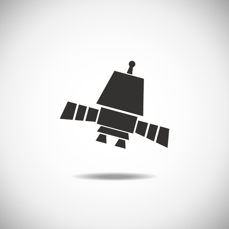space station: Satellite Space Station flying over Earth. Isolation icon