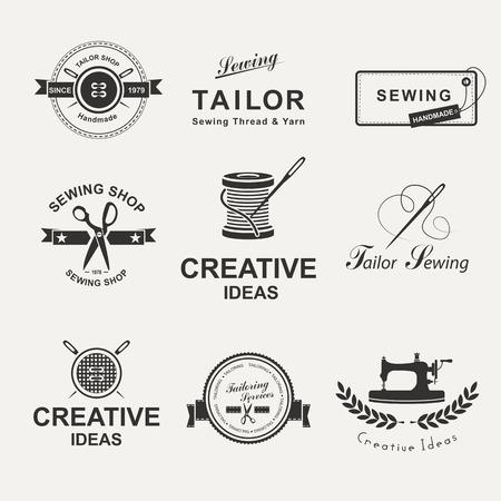 Sada na míru štítků, emblémů a konstrukčních prvků. Tailor obchod.