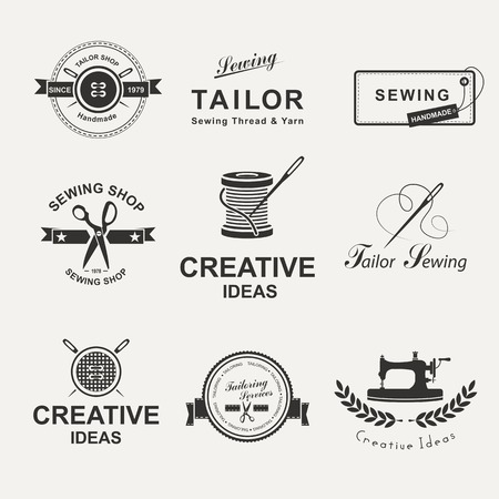 machine shop: Set of tailor labels, emblems and design elements. Tailor shop.