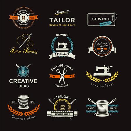 tessile: Set di etichette personalizzate, emblemi e elementi di design. Sartoria. Logo Vettoriali