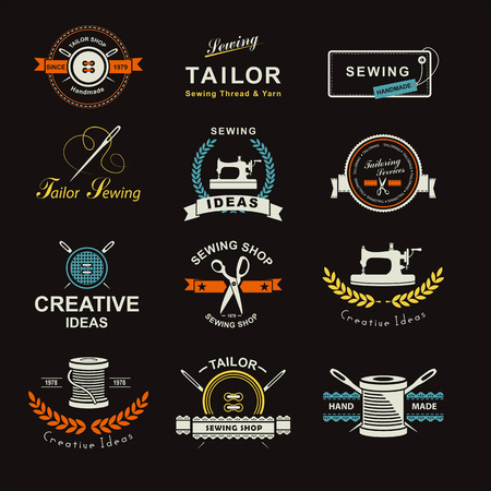 Zestaw etykiet, emblematów i dopasowanych elementów projektu. Krawiec sklep. Logo
