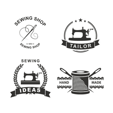 maquina de coser: Conjunto de etiquetas personalizadas, emblemas y elementos de dise�o. Sastrer�a. Logo