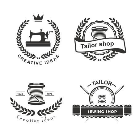 テーラー ラベル、エンブレム、デザイン要素のセットです。洋服屋。  イラスト・ベクター素材