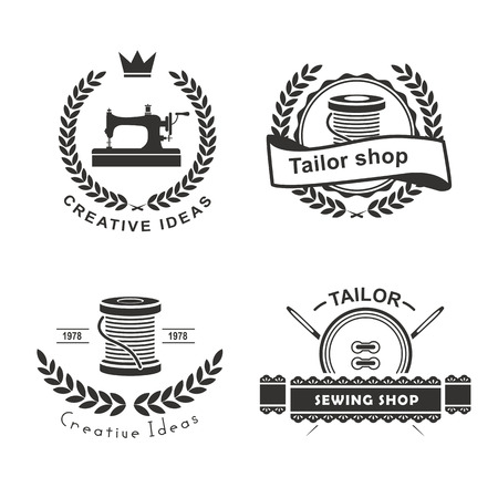 fabric design: Set of tailor labels, emblems and design elements. Tailor shop.