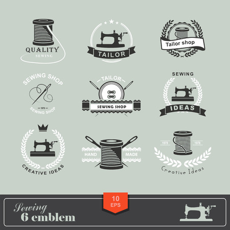 fabric design: Set of tailor labels, emblems and design elements. Tailor shop.