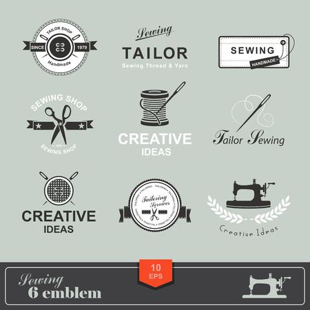 coser: Conjunto de etiquetas personalizadas, emblemas y elementos de diseño. Sastrería. Logo