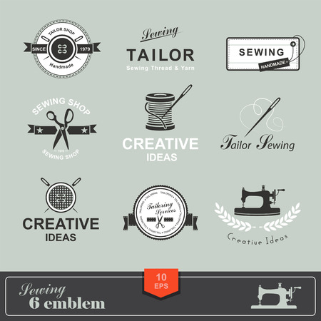 sew label: Set of tailor labels, emblems and design elements. Tailor shop. Logo