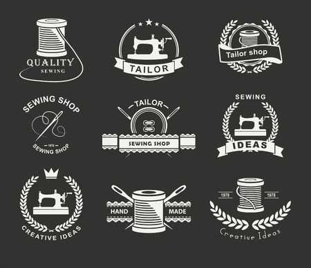 tailor shop: Set of tailor labels, emblems and design elements. Tailor shop.