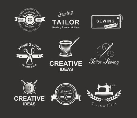 vestidos antiguos: Conjunto de etiquetas personalizadas, emblemas y elementos de dise�o. Sastrer�a. Logo