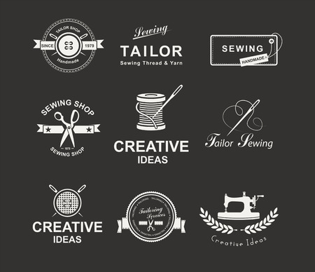 machines: Set of tailor labels, emblems and design elements. Tailor shop. Logo