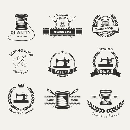 textile industry: Set of tailor labels, emblems and design elements. Tailor shop. Logo