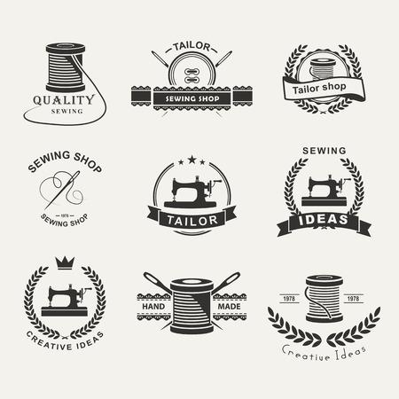 Zestaw etykiet, emblematów i dopasowanych elementów projektu. Krawiec sklep. Logo Logo