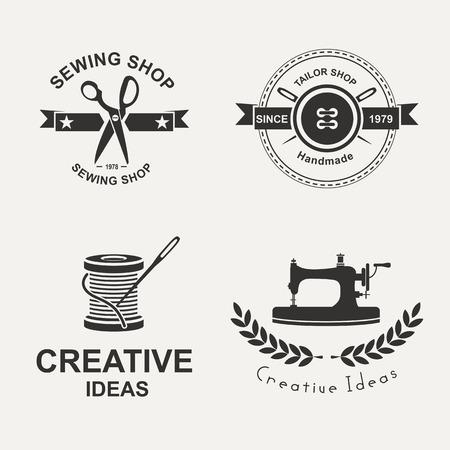 Set van tailor etiketten, emblemen en design elementen. Kleermaker.