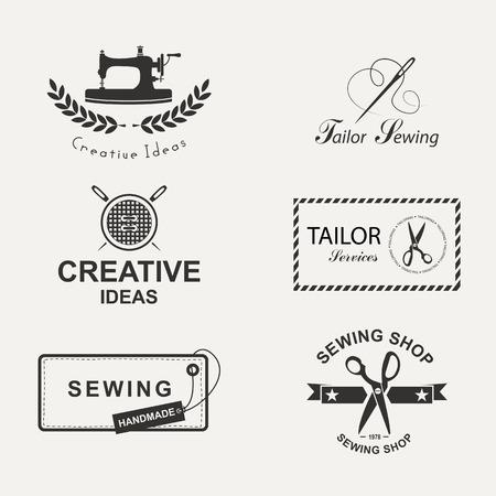 maquina de coser: Conjunto de etiquetas personalizadas, emblemas y elementos de diseño. Sastrería.