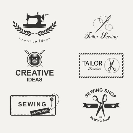 machines: Set of tailor labels, emblems and design elements. Tailor shop.