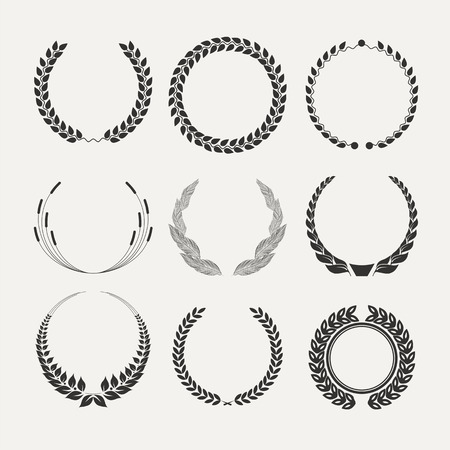 wreaths: Vector emblems. laurel wreath. Victory  and success.