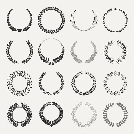 laurel leaf: emblems on white  Illustration