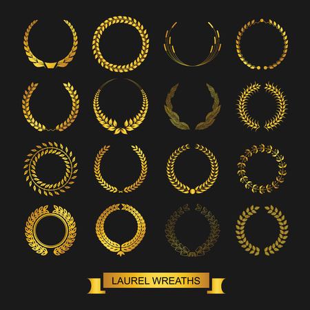 award certificate: Vector emblems. laurel wreath. Victory  and success.