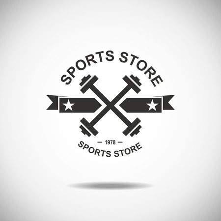 gym equipment: Set of various sports and fitness logo emblem graphics and icons. Shop sport products